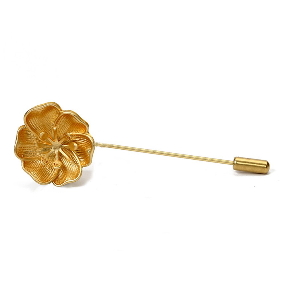 Gold Flower Brooch Stick Pin for Unisex Hat Pin Suit Pin MINGHUA