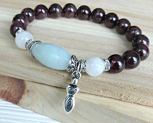Garnet bracelet, Moonstone, Amazonite, fertility bracelet, goddess, beaded, stretch bracelet, Healing bracelet, mala, red bracelet
