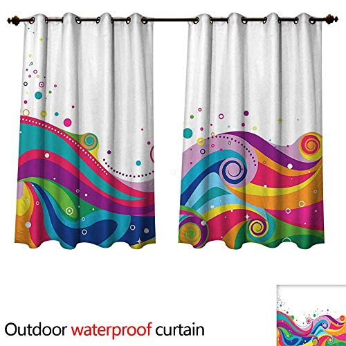 cobeDecor Abstract Outdoor Curtains for Patio Sheer Sea of Rainbow Colored Waves with Vivid Splashes on White Sky Lively Swirls Shapes W120 x L72(305cm x 183cm)