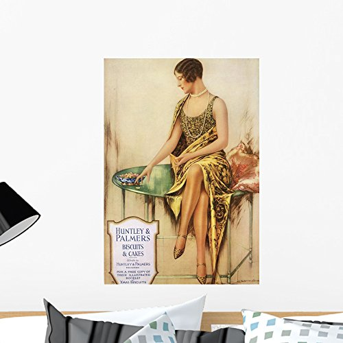 Wallmonkeys Flapper with Long Pearls and Bobbed Hair Peel and Stick Wall Decals WM156948 (24 in H x 16 in (1920s Room Decor)