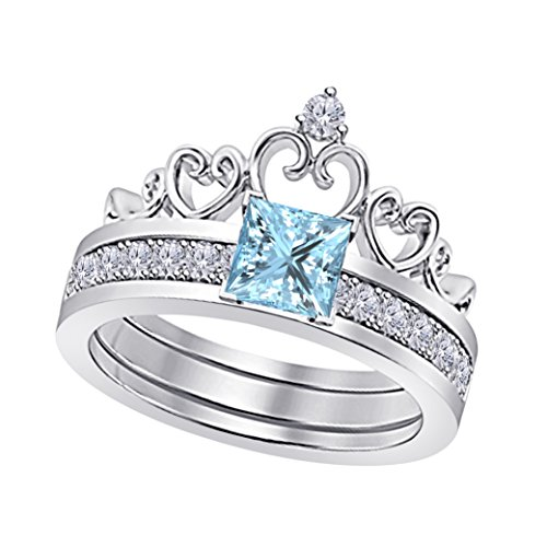 Star Retail 14k White Gold Plated Alloy Princess Cut 6MM Created Aquamarine & White Cubic Zirconia Round Interchangeable Crown Engagement & Wedding Ring Set Women's Jewelry Size (Aqua Cubic Zirconia Star)