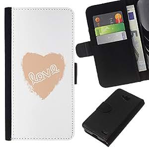 KLONGSHOP // Tirón de la caja Cartera de cuero con ranuras para tarjetas - Amor corazón blanco de texto minimalistas de San Valentín - LG OPTIMUS L90 //