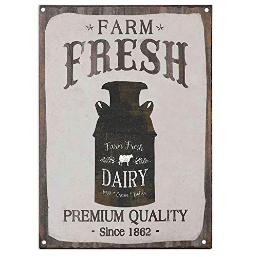 TISOSO Farm Fresh Dairy Milk Cream Butter Retro Vintage Metal Tin Sign Country Home Bar Wall Decor Art Poster 12X8 Inch