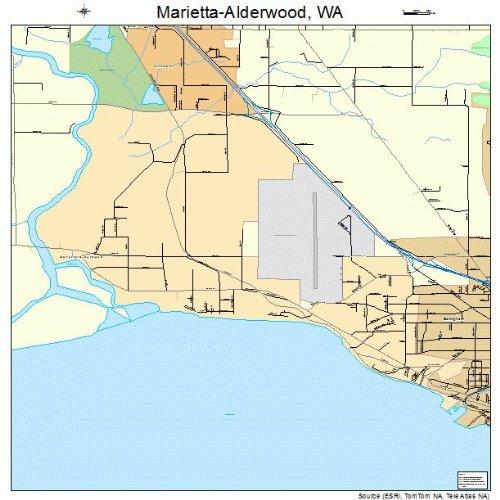 Large Street & Road Map of Marietta-Alderwood, Washington WA - Printed poster size wall atlas of your - Alderwood Wa