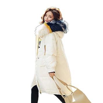 Shirloy Chaqueta de Pluma para Mujer Pato Blanco Abajo Abrigo Largo Invierno  Cabello Real Cuello Grande Chaqueta de Cuello Grueso Chaqueta Sobre la  Rodilla ... 8cb7709d1b40