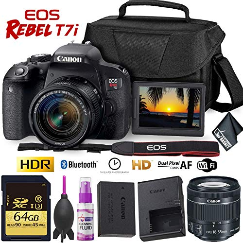 Canon EOS Rebel T7i DSLR Camera with 18-55mm Lens + 64GB Memory Card Combo
