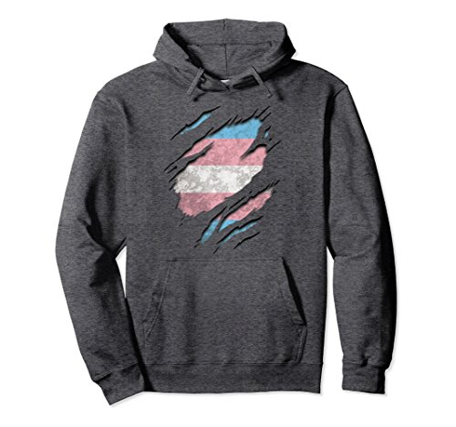 Unisex Vintage Transgender Flag Hoodie, 3D Under Ripped Trans Pride 2XL Dark Heather