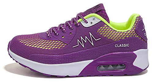 Ausom Mujeres Sports Hiking Air Cushion Moda Transpirable Casual Sneakers Running Zapato Púrpura