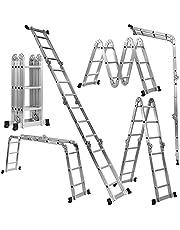 COSTWAY Multifunctionele ladder, inklapbare ladder, 370 cm, aluminium frame, maximale belasting 150 kg, lichtgewicht, antislip ontwerp