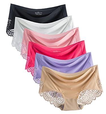 COSOMALL 6 Pack Women's Invisible Seamless Bikini Underwear Half Back Coverage Panties