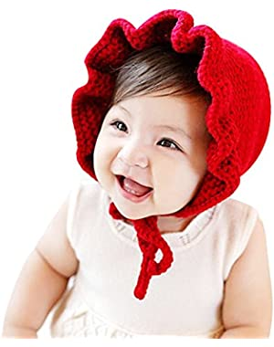 Unisex Baby Warm Wind Spring and Autumn Frill Knitting Wool Hat