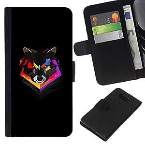 EJOY---La carpeta del tirón la caja de cuero de alta calidad de la PU Caso protector / Samsung ALPHA G850 / --Polígono colorido Fox