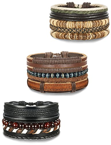 FUNRUN JEWELRY 12Pcs Leather Bracelets Set for Men Women Wood Bead Bracelets 7-8.5inches Adjustable (A: 12PCS (Wood Beaded Jewelry)