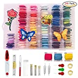 Embroidery Floss with Organizer Storage Box,Friendship Bracelets Floss,Embroidery Thread,Cross Stitch Kits,Including 100 Color Threads,Plastic Floss Bobbins for DIY Threaders Sewing Knitting(146 Pack)
