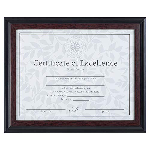 Dax 8.5x11 Solid Wood Walnut and Black Document Frame, Wall or Tabletop Display ()