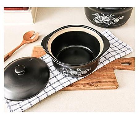 LIAN Cazuela de boca ancha uso en el hogar olla olla de sopa de fuego abierto olla de sopa de avena de gran capacidad olla de guisado olla de piedra regalo ...