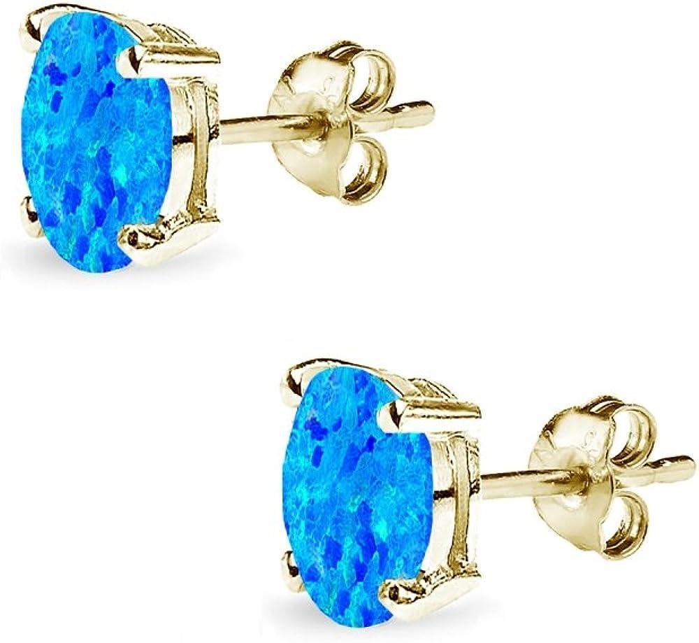 Sterling Silver Synthetic Opal Oval-Cut Solitaire Stud Earrings for Women Teens /& Girls