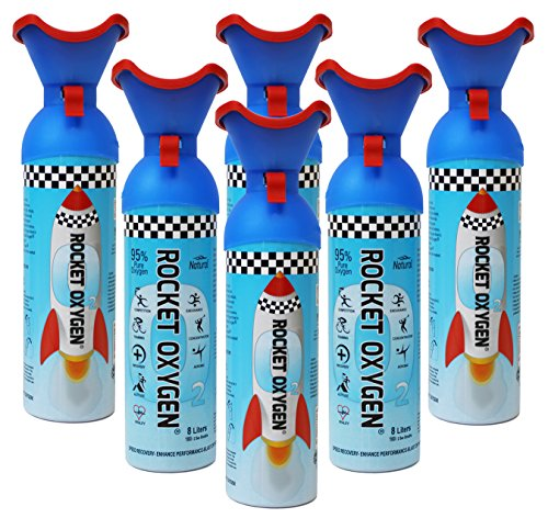 Rocket Oxygen - 6 - Pack 8 Liters 22oz ea Portable Oxygen Can Made in USA natural enhancer for altitude and extreme sports relieves headaches migraine & hangovers