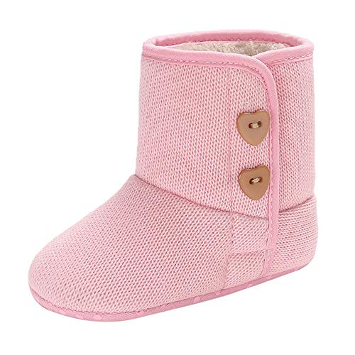 4 Inch 1/2 Boot Knee (Infant Thick Warm Boots Newborn Baby Girls Winter Cashmere Button Boots Prewalker Shoes (6-12 Months, Pink))