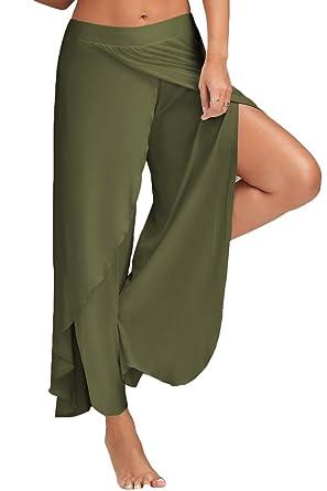 Amazon.com: Laucote pantalones palazzo informales anchos con ...