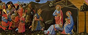 Oil painting 'Zanobi Strozzi The Adoration of the Magi ' printing on Perfect effect canvas , 20 x 50 inch / 51 x 128 cm ,the best Hallway artwork and Home decoration and Gifts is this High Definition Art Decorative Canvas Prints