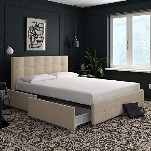 DHP Rose Storage, Upholstered Bed, Ivory Velvet, Queen ()