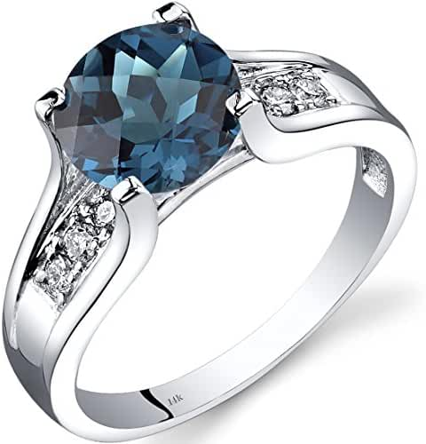 14K White Gold London Blue Topaz Diamond Cocktail Ring 2.25 Carats Sizes 5-9