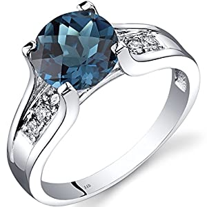 Peora London Blue Topaz and Diamond Ring in 14K White Gold, 2.25 Carats total, Cathedral Design, Round Shape Solitaire…
