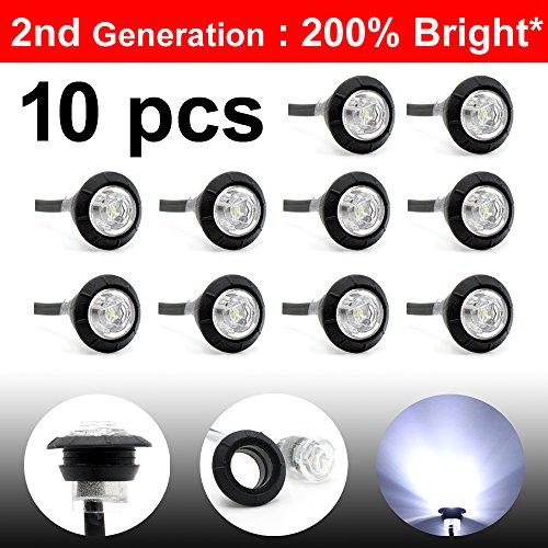 """10 Pcs LedVillage 2nd Generation 3/4"""" Inch Mount White LED Clearance Bullet Marker lights, Side Led Marker for Truck Boat SUV ATV Bike Trailer Marine supplier"""