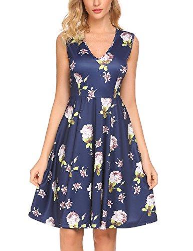Funpor Womens Sleeveless Casual V Neck A-Line Floral Print Party Dress