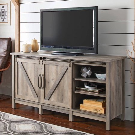 TV Stand For TVs Up To 60u0026quot; With 2 Sliding Barn Doors, Storage Cabinet