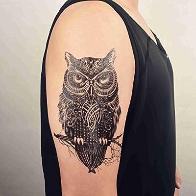 COKOHAPPY Grande Temporales Tatuaje Búho Celtic: Amazon.es: Belleza