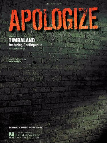 Apologize - Recorded by Timbaland Featuring OneRepublic - Piano/Vocal/Guitar
