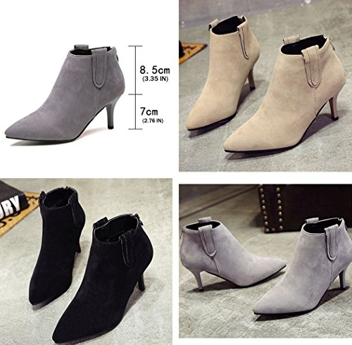 Heel Booties Elegant Pointed Beige Back Toe Zipper Ankle Womens Soft Stiletto Dress Gaorui qzwgHaTn