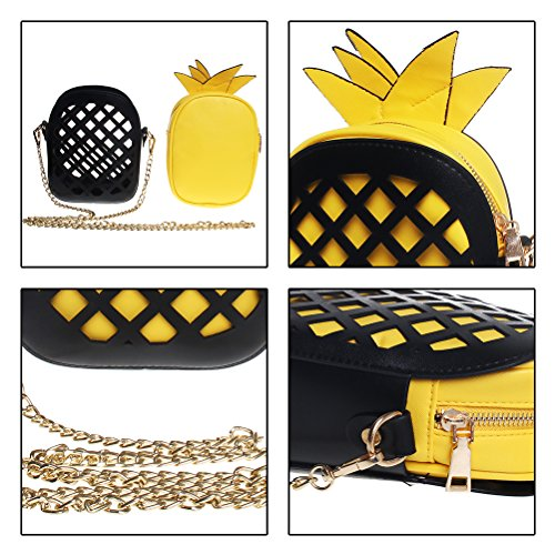 Womens Leather Purse Crossbody Clutch Handbags PU Fruit FASHIONROAD Shape Bags Yellow Pineapple rxrwn0gq6z