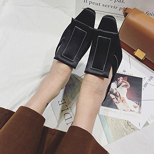 pantofole e scarpe grossolane Qingchunhuangtang sandali La e primavera l'estate black con AFxY88Eq