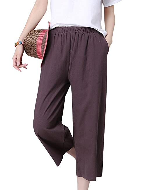 Donna Sciolto Tinta Unita Lungo Pantaloni Harem Vita Alta
