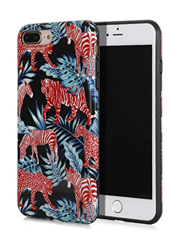 SunshineCases【Red Jungle Animals & Palm Leaves】 Flexible, Thin, Non-Slip Case Design【Compatible: Apple iPhone 8 Plus & iPhone 7 Plus】 -