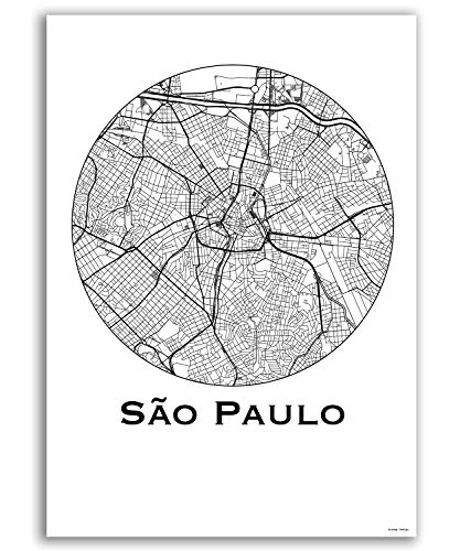 Poster Sao Paulo Brazil City Map Street Map Wall Decor Decorative Travel Poster Printing Several Sizes (8x10, 12x16, 16x20, 18x24)
