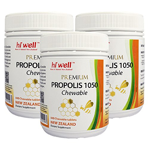 Hi Well Premium Bee Propolis 1050mg 500 Chewable Tablets New Zealand Bee Immune Support Vitamins Minerals & Antioxidants (Pack of - Propolis Chewable Bee