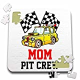 3dRose Carsten Reisinger - Illustrations - Pit Crew Mom Funny Car Race Theme Birthday Party Host - 10x10 Inch Puzzle (pzl_275701_2)