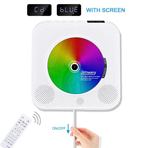 Portable CD Player, Jimwey Wall Mountable Bluetooth Built-in HiFi Speakers,...