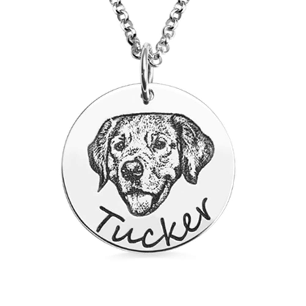AILIN 925 Sterling Silver Custom Portrait Pet Photo Necklace Personalized Pet Jewelry Dog Necklace Cat Portrait Pet Gifts Pet Lover Gift Dog Mom Dog Grandma Size 18 by AILIN