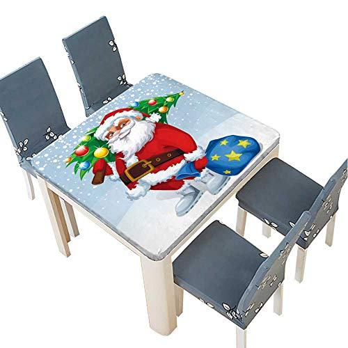 PINAFORE Waterproof SpillProof Tablecloth Vector Merry Christmas Card with Santa Claus Holding a Gift and a Tree for Picnic,Outdoor or Indoor Party use 45 x 45 INCH (Elastic Edge)]()