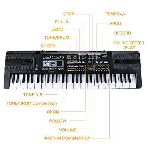 Digital Music Piano Keyboard 61 Key - Portable Electronic Musical  Instrument with Microphone Kids Piano Musical Teaching Keyboard Toy For  Birthday
