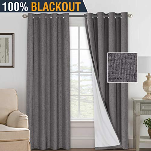 H.VERSAILTEX 100% Blackout Waterproof Curtains Home Decorations Linen Thermal Insulated Solid Grommet Top Blackout Living Room Curtains/Drapes for Bedroom/Patio (1 Pair, 52 x 108- Inch, Grey) (Sliding Glass Door Curtin)