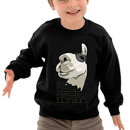 Price comparison product image Puppylol No Prob Llama Kids Classic Crew-neck Pullover Hoodie Black 4 Toddler