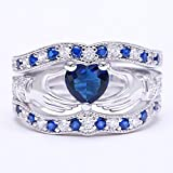 Sumanee 3Pcs Irish Claddagh Celtic Heart Sapphire 925 Silver Ring Wedding Bridal Set New (10)