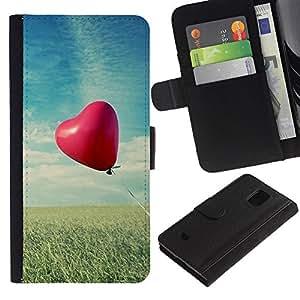 LASTONE PHONE CASE / Lujo Billetera de Cuero Caso del tirón Titular de la tarjeta Flip Carcasa Funda para Samsung Galaxy S5 Mini, SM-G800, NOT S5 REGULAR! / Love Balloon Love
