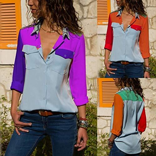 Bouton Casual Manches Violet Angelof Sport Mode LaChe Longues De Tops Tee Chemisier Poches Femme Bloc Shirt Couleur Bq4gzXR